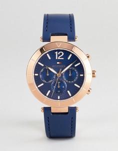 Часы с темно-синим кожаным ремешком и хронографом Tommy Hilfiger 1781881 - 38 мм - Темно-синий