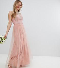Платье макси без рукавов с кружевом и юбкой из тюля Chi Chi London Petite - Розовый