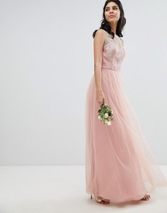 Платье макси без рукавов с кружевом и юбкой из шифона Chi Chi London - Розовый