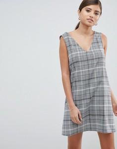 Цельнокройное платье мини в клетку ASOS DESIGN - Мульти