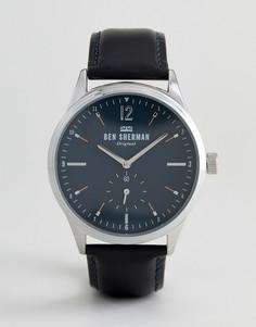 Часы с черным кожаным ремешком Ben Sherman WB015UB - Черный