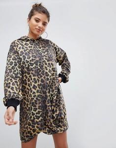 Трикотажное платье с леопардовым принтом и капюшоном ASOS DESIGN - Мульти