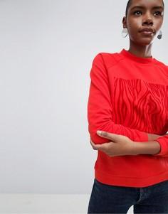 Свитшот с флоковым принтом Selected - Красный