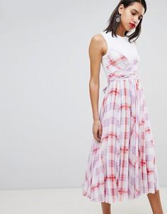 Платье миди в клетку Sportmax Code - Белый