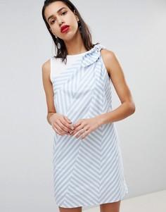 Свободное платье в зигзагообразную полоску Sportmax Code - Синий