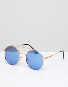 Серебристые солнцезащитные очки в круглой оправе Jeepers Peepers - Серебряный