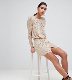 Платье мини с пайетками и подплечниками Flounce London - Золотой