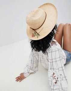 Соломенная шляпа-федора с нарисованной розой Brixton - Бежевый