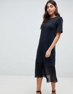 Платье-футболка миди с плиссировкой ASOS DESIGN - Черный