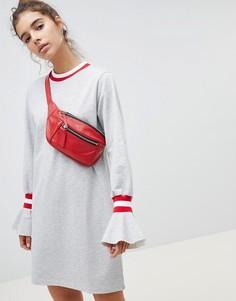 Трикотажное платье с отделкой в спортивном стиле и оборками ASOS DESIGN - Серый