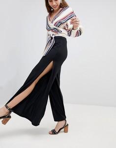 Расклешенные брюки в рубчик New Look - Черный
