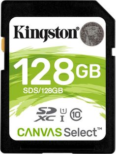 Карта памяти SDXC UHS-I U1 KINGSTON Canvas Select 128 ГБ, 80 МБ/с, Class 10, SDS/128GB, 1 шт.