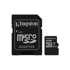 Карта памяти 16Gb - Kingston MicroSDHC Class 10 UHS-I U1 Canvas Select SDCS/16GB с переходником под SD