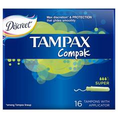 Тампоны с аппликатором `TAMPAX` COMPAK Super 16 шт