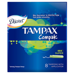 Тампоны с аппликатором `TAMPAX` COMPAK Super Single 8 шт