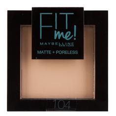 Пудра компактная для лица `MAYBELLINE` FIT ME тон 104 светло-бежевый