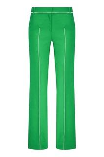 Зеленые хлопковые брюки с окантовками Valentino