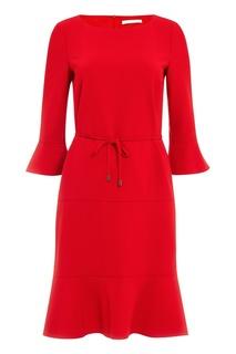Красное платье с воланами Boss
