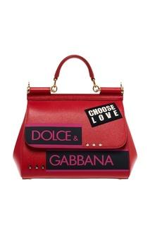 Красная сумка с аппликацией Sicily Dolce&;Gabbana