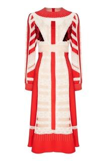 Шелковое платье с кружевом Valentino