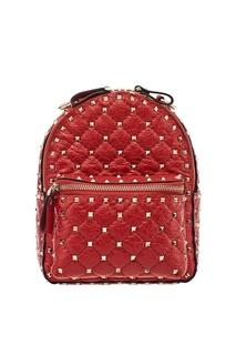 Красный рюкзак с заклепками Rockstud Spike Valentino