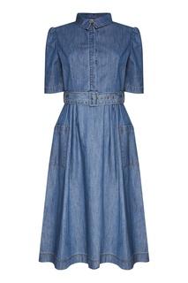 Джинсовое платье-рубашка с поясом Akhmadullina Dreams