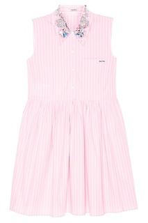 Розовое платье с блестящим воротником Miu Miu
