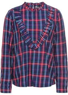 Блузка с воланами (красный/полуночная синь в клетку) Bonprix