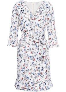 Платье из шифона с воланами (кремовый в цветочек) Bonprix