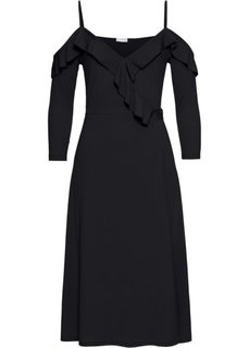 Платье с запахом и воланами (черный) Bonprix