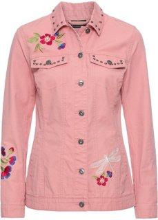 Куртка короткая с вышивкой (дымчато-розовый) Bonprix