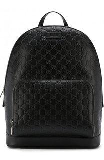 Кожаный рюкзак с тиснением Signature и внешним карманом на молнии Gucci
