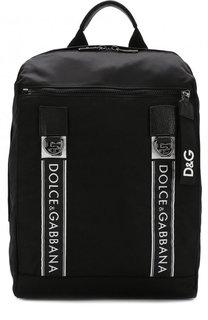 Текстильный рюкзак Mediterraneo с внешним карманом на молнии Dolce & Gabbana