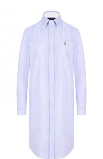 Хлопковое платье-рубашка с логотипом бренда Polo Ralph Lauren