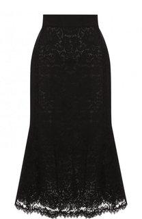 Однотонная кружевная юбка-миди Dolce & Gabbana