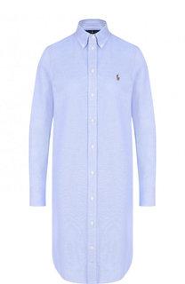 Хлопковое платье-рубашка с вышитым логотипом бренда Polo Ralph Lauren