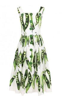 Хлопковое платье-миди с принтом Dolce & Gabbana
