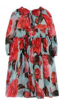 Платье-миди из шелка и вискозы с принтом и бантом Dolce & Gabbana