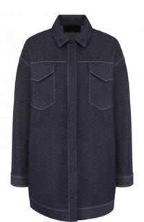 Джинсовая куртка свободного кроя с контрастной прострочкой Loro Piana