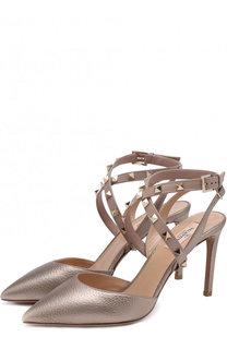 Туфли Valentino Garavani Studwrap из металлизированной кожи на шпильке Valentino