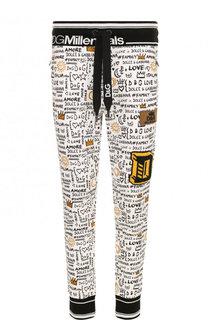 Хлопковые джоггеры с прнитом и аппликацией Dolce & Gabbana