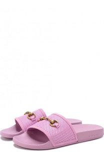 Кожаные шлепанцы с пряжкой-трензелем Gucci