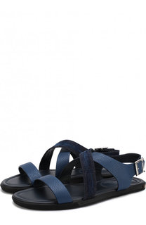 Кожаные сандалии с текстильной отделкой на плоской подошве Doucals Doucals