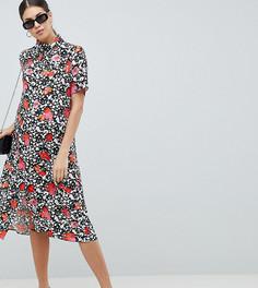 Платье миди на пуговицах с цветочным принтом ASOS DESIGN Maternity - Мульти