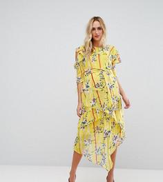 Желтое платье с открытыми плечами, цветочным принтом и кольцом ASOS Maternity - Мульти