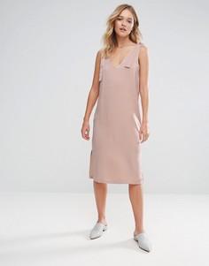 Атласное платье-комбинация миди с завязками Neon Rose - Бежевый