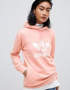 Oversize-худи розового цвета с трилистником adidas Originals - Розовый