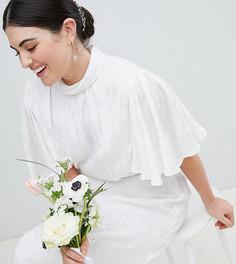 Жаккардовое платье макси с рукавами клеш ASOS DESIGN Curve - Белый