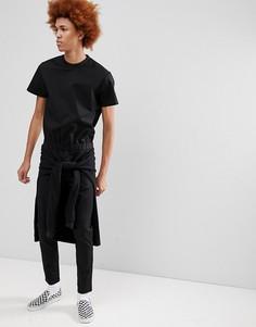 Черный комбинезон скинни с короткими рукавами и поясом ASOS - Черный