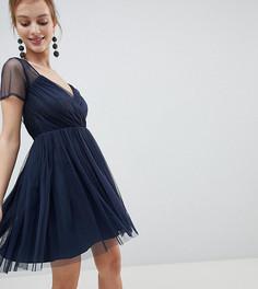 Платье мини из тюля с прозрачными рукавами ASOS DESIGN Petite - Темно-синий